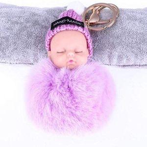 Accessories - HANDMADE  Purple Sleeping Baby pom pom keychain